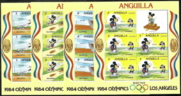 Anguilla,  Scott 2017 # 559-567,  Issued 1984,  Set Of 9 M/S Of 5 + Label,  MNH,  Cat $ 65.00,  Disney Olympics - Anguilla (1968-...)