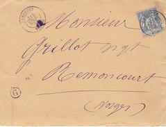 Boite Rurale G De Sérocourt Sur Lettre De Lamarche , Vosges ,affranchie Sage N° 90 ,de 1892 - Marcophilie (Lettres)