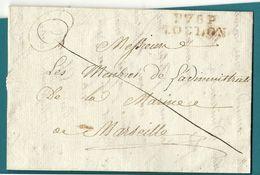 Var - Toulon Pour Les Membres De L'administration De La Marine à Marseile. LAC De 1808 - Postmark Collection (Covers)