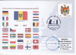MOLDOVA ,  2017 , 25 Years Moldova -  Georgia Diplomatic Relation  , Flags , Coat Of Arms , Monuments , Sp. Cancell - Moldova
