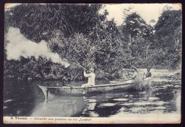 SÃO TOMÉ E PRINCIPE / S.THOMÉ. Atirando Aos Pombos No Rio LEMBA. Shooting Pigeons Old Postcard Africa 1900s - Sao Tome En Principe