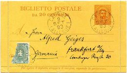 ITALY / ITALIA 1893. Entire Letter Card. Biglietto Postale Da 20 Centesimi, To Frankfurt A/M, Germany - 1878-00 Umberto I