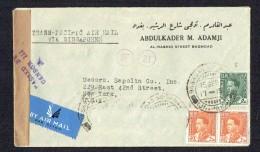 1941  Lettre Avion De Baghdad Pour Les USA - Censurée - Iraq