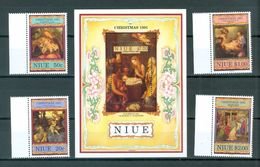 Niue 599-603 Christmas Issues Paintings Includes Souvenir Sheet Block MNH 1991 A04s - Niue