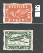 Germany 1919,Air Mail,Sc C1-C2,VF Mint Hinged* / 10 Pf Sc C1 No Gum (A-8) - Unused Stamps