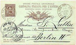 ITALY / ITALIA 1893. Answer Part Of An Entire Postal Card. Cartolina Postale RISPOSTA Per L'estero Da 10 Centesimi - 1878-00 Humbert I