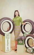 Twin City Tire & Recapping Co. Monroe Louisiana Advertisement, Beautiful Woman Model, C1960s Vintage Postcard - Postcards