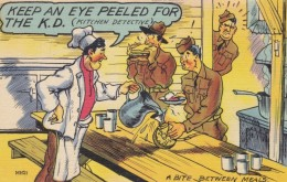 Keep An Eye Peeled For The K.D. Kitchen Detective Soldiers Sneek Food, Military Humor, C1940s Vintage Linen Postcard - Humour