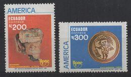 R208 ECUADOR - 1989.-.SC#: 1227-1228.-.MNH - AMERICA UPAEP- CERAMIC/ARCHAEOLOGY - Equateur