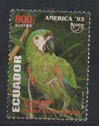"R212-. ECUADOR - 1993.-.SC#: 1325.-."" ERROR ""- AMERICA IN WHITE, NORMAL ARE IN YELLOW- MNG - AMERICA UPAEP- PARROT- - Ecuador"