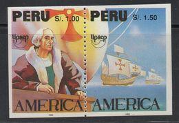 R221. PERU - 1992.-.NOT ISSUED.-.MNH - AMERICA UPAEP- DISCOVERY OF AMERICA 500th ANNIVERSARY- COLUMBUS-IMPERFORATE - Peru