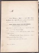 EDEGEM EDEGHEM Augustin DIERCXSENS 56 Ans 1853 Directeur Compagnie D'Assurance De L'Escaut Doodsbrief - Obituary Notices