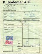 FACTURE GARAGE P. BODEMER & Cie - ISSY LES MOULINEAUX - VOITURE PANHARD Z12 EN 1957 - TIMBRES FISCAUX - Automobil