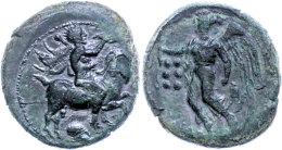 Himera, Hemilitron (6,90g), 420-408 V. Chr., Av: Jüngling Mit Muschelhorn Und Kerykeion Auf Ziege Nach Rechts,... - Antique