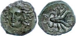 Syrakus, Æ (1,69g), Ca. 405 V. Chr., Av: Arethusakopf Von Vorn, Rev: Oktopus, SNG ANS 385, Grüne Patina,... - Antique