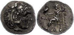 Makedonien, Myalasa?, Drachme (4,00g), 300-280 V. Chr., Alexander III., Av: Herakleskopf Mit Löwenfell Nach... - Antique