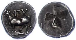416-357 V. Chr., 1/2 Siglos, Byzantium, Av: Kuh Auf Delphin, Davor Monogramm, Rev. Quadrum Inclusum, 2,65g. Ss. ... - Antique