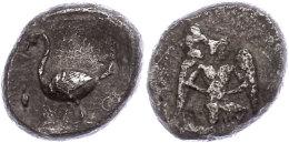 Mallos, AR-Stater (9,86g), 425-385 V. Chr., Av: Kniender, Geflügelter Jüngling Nach Rechts, Rev: Schwan... - Antique