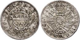 1/6 Taler, 1720, Mit Titel Karls VI., Noss 600a, Schrötlingsfehler Am Rand, Vz.  Vz1 / 6 Thaler, 1720,... - [ 1] …-1871 : German States