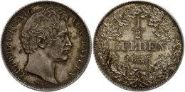 1/2 Gulden, 1845, Ludwig I., AKS 79, J. 61, Vz.  Vz1 / 2 Guilder, 1845, Ludwig I., AKS 79, J. 61, Extremley... - [ 1] …-1871 : German States