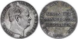 "Ausbeutetaler, 1860, Friedrich Wilhelm IV. ""Segen Des Mansfelder Bergbaues"", AKS 79, J. 85, Ss.  SsMining... - [ 1] …-1871 : German States"