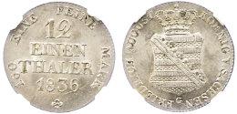"""1/12 Taler, 1836, Friedrich August II., AKS 105, J. 71, In Plastikholder Der NGC Mit Der Bewertung """"MS 63"""".  1... - [ 1] …-1871 : German States"""