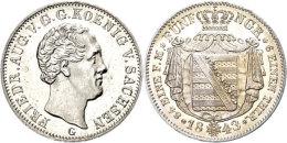 1/6 Taler, 1843, Friedrich August II., AKS 104, J. 84, Wz. Kratzer Auf Avers, Erstabschlag. Selten!  EA1 / 6... - [ 1] …-1871 : German States