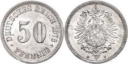 50 Pfennig, 1876 B, Wz. Schrötlingsfehler Auf Dem Avers, F. St., Katalog: J. 7 50 Penny, 1876 B,... - [ 2] 1871-1918 : German Empire
