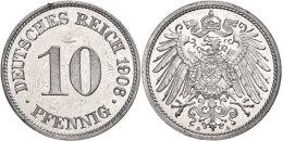 10 Pfennig, 1906, A, PP., Katalog: J. 13 PP10 Penny, 1906, A, PP., Catalogue: J. 13 PP - [ 2] 1871-1918 : German Empire