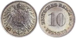 10 Pfennig,1916, D, Getönt, PP, Selten! (alter Ausruf 300), Katalog: J. 13 PP10 Penny, 1916, D, Shaded,... - [ 2] 1871-1918 : German Empire