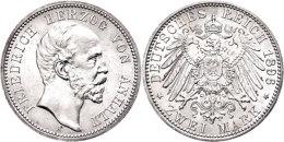 2 Mark, 1896, Friedrich I., Vz-st., Katalog: J. 20 Vz-st2 Mark, 1896, Friedrich I., Extremly Fine To... - [ 2] 1871-1918 : German Empire