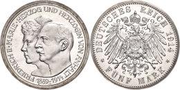 5 Mark, 1914, Friedrich II., Auf Die Silberne Hochzeit, Wz. Kratzer, PP., Katalog: J. 25 PP5 Mark, 1914,... - [ 2] 1871-1918 : German Empire