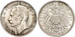 3 Mark, 1911, Friedrich II., Kl. Rf., St., Katalog: J. 39 St3 Mark, 1911, Friedrich II., Small Edge Nick, St.,... - [ 2] 1871-1918 : German Empire