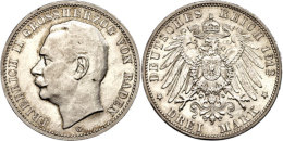 3 Mark, 1912, Friedrich II., F. St., Katalog: J. 39 3 Mark, 1912, Friedrich II., F. St., Catalogue: J. 39 - [ 2] 1871-1918 : German Empire