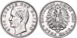 5 Mark, 1888, Otto, Kl. Rf., Ss-vz., Katalog: J. 44 Ss-vz5 Mark, 1888, Otto, Small Edge Nick, Very Fine To... - [ 2] 1871-1918 : German Empire