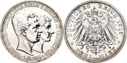 """3 Mark, 1915, Ernst August, Zum Regierungsantritt, Variante Ohne """"Lüneburg"""", Wz. Kratzer, Erstabschlag.... - [ 2] 1871-1918 : German Empire"""