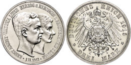 3 Mark, 1915, Ernst August, Zum Regierungsantritt, Wz. Kratzer Auf Avers, PP., Katalog: J. 57 PP3 Mark, 1915,... - [ 2] 1871-1918 : German Empire