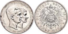 5 Mark, 1915, Ernst August, Zum Regierungsantritt, Kl. Kratzer, PP., Katalog: J. 58 PP5 Mark, 1915, Ernst... - [ 2] 1871-1918 : German Empire