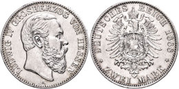 2 Mark, 1888, Ludwig IV., Kl. Rf., Ss., Katalog: J. 68 Ss2 Mark, 1888, Ludwig IV., Small Edge Nick, Very Fine.,... - [ 2] 1871-1918 : German Empire