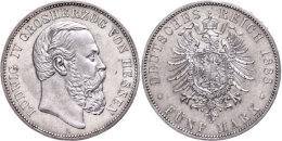 5 Mark, 1888, Ludwig IV., Kl. Rf., Vz., Katalog: J. 69 Vz5 Mark, 1888, Ludwig IV., Small Edge Nick, Extremley... - [ 2] 1871-1918 : German Empire