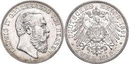 2 Mark, 1891, Ludwig IV., Vz., Katalog: J. 70 Vz2 Mark, 1891, Ludwig IV., Extremley Fine, Catalogue: J. 70 Vz - [ 2] 1871-1918 : German Empire
