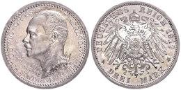 3 Mark, 1917, Ernst Ludwig, Zum 25jährigen Regierungsjubiläum, Kl. Kratzer, Wz. Rf., Hübsche... - [ 2] 1871-1918 : German Empire