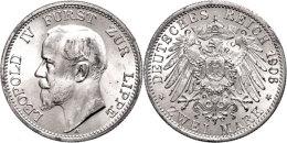 2 Mark, 1906, Leopold IV., Wz. Rf., F. St., Katalog: J. 78 2 Mark, 1906, Leopold IV., Watermark. Edge Nick, F.... - [ 2] 1871-1918 : German Empire
