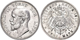 3 Mark, 1913, Leopold IV., Randfehler, Leicht Berieben, Vz-st., Katalog: J. 79 Vz-st3 Mark, 1913, Leopold IV.,... - [ 2] 1871-1918 : German Empire