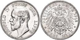 3 Mark, 1913, Leopold IV., Kl. Rf., Vz., Katalog: J. 79 Vz3 Mark, 1913, Leopold IV., Small Edge Nick, Extremley... - [ 2] 1871-1918 : German Empire