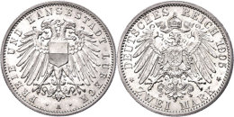 2 Mark, 1905, Vz., Katalog: J. 81 Vz2 Mark, 1905, Extremley Fine, Catalogue: J. 81 Vz - [ 2] 1871-1918 : German Empire