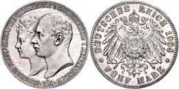 5 Mark, 1904, Friedrich Franz IV., Zur Hochzeit, Kl. Kratzer, PP., Katalog: J. 87 PP5 Mark, 1904, Friedrich... - [ 2] 1871-1918 : German Empire