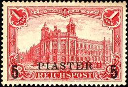 """5 Piaster Auf 1 Mark Reichspost Type I, Mit Plattenfehler """"Blitz über Gebäudeteil Ganz Links"""", Minimaler,... - Offices: Turkish Empire"""
