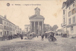Virton - L'Eglise Et Grand'Place (animée, Marché, 1921) - Virton