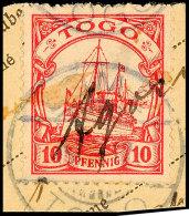 AGOME (Palime), Handschriftlich Auf Paketkartenausschniit 10 Pf. Kaiseryacht Gestempelt LOME, Fotoattest R.F.Steuer... - Colony: Togo